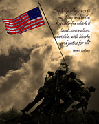 Fourth Of July Framed Prints - The Pledge of Allegiance - Iwo Jima 20130211v2 Framed Print by Wingsdomain Art and Photography