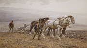Plow Paintings - The Ploughman Wilmington Polegate Near Eastbourne by Joseph Harold Swanwick