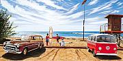 Surfing Art Paintings - The Point San Onofre by Steve Simon
