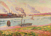 Sailboat Ocean Posters - The Pointe dIvry Poster by Jean Baptiste Armand Guillaumin