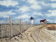 Fencing Paintings - The Pole Line to Race Point Light by Jennifer  Creech