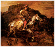 Rembrandt Paintings - The Polish Rider by Rembrandt