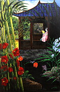 Bamboo House Painting Framed Prints - The Pond Garden Framed Print by D L Gerring