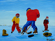 Hockey Games Paintings - The Pond Hockey Game by Anthony Dunphy