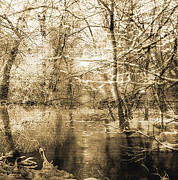 Fantasy Landscape With Figure Prints - The pond Print by Yanni Theodorou