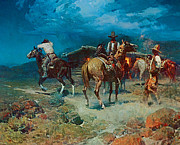 Early American Framed Prints - The Pony Express Framed Print by Frank Tenney Johnson
