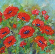 Poppies Field Paintings - The Poppies Dance by Irit Bourla