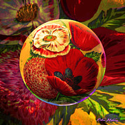 Summer Digital Art Metal Prints - The Poppy Sphere Metal Print by Robin Moline