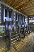 Rocking Chairs Framed Prints - The Porch Framed Print by Debra and Dave Vanderlaan