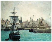 Sailing Ships Posters - The Port at Calais Poster by Edouard Manet