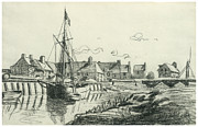 Claude Drawings - The Port at Touques by Claude Monet