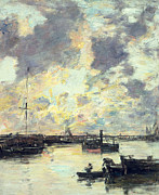 Oars Paintings - The Port by Eugene Louis Boudin