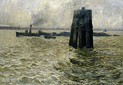 Marine Paintings - The Port of Hamburg by Leopold Karl Walter von Kalckreuth