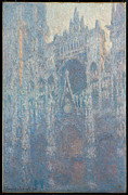 Morning Light Painting Prints - The Portal of Rouen Cathedral in Morning Light Print by Claude Monet
