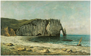 Cliffs Over Ocean Metal Prints - The Porte dAval at Etretat Metal Print by Gustave Courbet