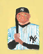 Derek Jeter Paintings - The Portrait of Derek Jeter by Nat Solomon