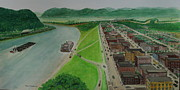Ohio River Painting Posters - The Portsmouth Ohio Boneyfiddle District 1948 Poster by Frank Hunter