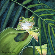 Frog Paintings - The Pose by Lyse Anthony