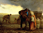 Apron Painting Framed Prints - The Potato Harvest Framed Print by Jean Francois Millet