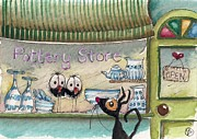 Shop Front Prints - The Pottery Store Print by Lucia Stewart