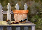 Potting Framed Prints - The Potting Bench Framed Print by Vicky Watkins