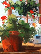 Red Geraniums Prints - The Potting Shed Series I Print by Mary Scott