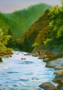 Poudre River Painting Prints - The Poudre River Print by Daniel Dayley