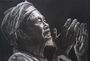 Charcoals Drawings Framed Prints - The Pray Framed Print by M Helmy Abdullah