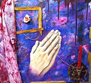 Maroon Mixed Media Originals - The Prayer by Keith Scanlon