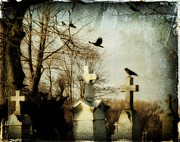 Ravens In Graveyard Framed Prints - The Prelude Framed Print by Gothicolors And Crows