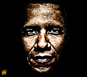 Obama Mixed Media Metal Prints - The President Metal Print by The DigArtisT