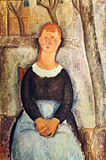 Amedeo Modigliani Framed Prints - The pretty vegetable vendor Framed Print by Amedeo  Modigliani