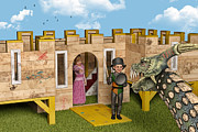 Knights Castle Digital Art - The Princess and The Knight - Playtime by Liam Liberty