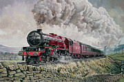 Steam Train Paintings - The Princess Elizabeth Storms North in All Weathers by David Nolan