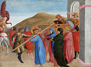 Crucifix Paintings - The Procession to Calvary by Sassetta