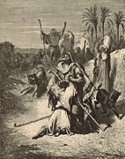 Bible Drawings Metal Prints - The Prodigal Son Metal Print by Antique Engravings