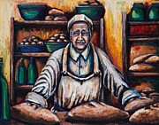 Loaf Of Bread Painting Prints - The Proud Baker Print by Kevin Richard