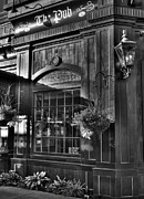 Taverns Framed Prints - The Pub bw Framed Print by Mel Steinhauer