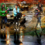 Hoodie Digital Art - The Puddle Parade by Lin Haring