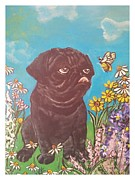 Veterinary Mixed Media Prints - The Pug and Butterfly Print by Marilyn  Sahs