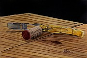 Wine Bottle Paintings - The Pull by Brien Cole