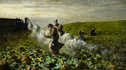 Farming Painting Prints - The Pumpkin Harvest Print by Giovanni Segantini