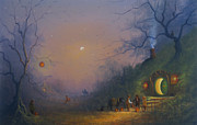 Hobbit Paintings - The Pumpkin Seller. A Hobbits Halloween by Joe Gilronan