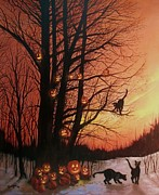 Black Cats Prints - The Pumpkin Tree Print by Tom Shropshire