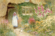 Charming Cottage Painting Posters - The Puppy Poster by Arthur Claude Strachan