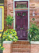 Potted Plants Posters - The Purple Door Poster by Barbara Jewell