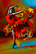 Orange Dress Prints - The Pyro Dancer Print by Byron Fli Walker