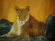 Lioness Painting Prints - The Queen Print by Anitha Shriganesh