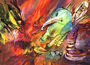 Reptiles Drawings Prints - The Queen Menagerie Print by Miki De Goodaboom