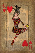 Playing Cards Posters - The Queen of Hearts Poster by Terry Fleckney